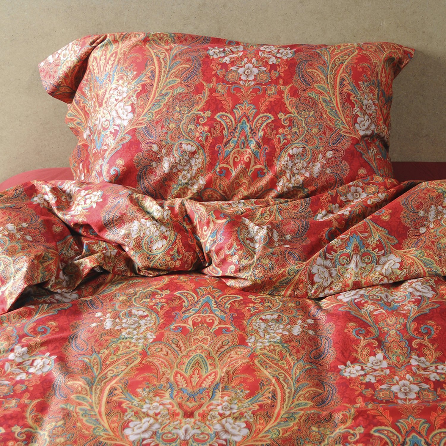Boho Paisley Print Luxury Duvet Quilt Cover And Shams 3pc