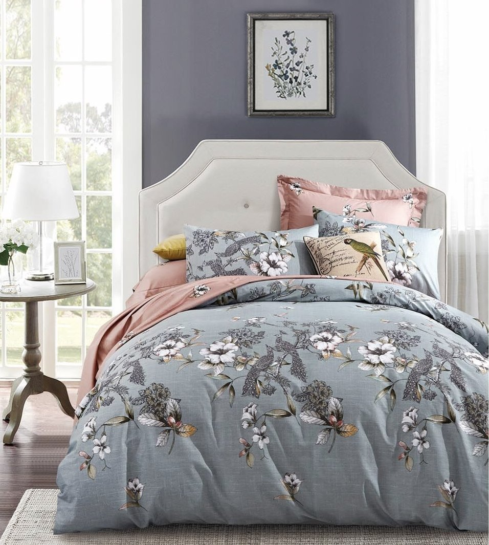 Exotic Hibiscus Blossom And Peacock Bird Duvet Cover Set