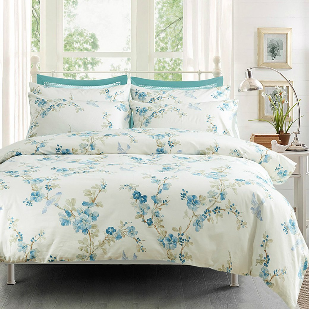 Watercolor Tree Blossom And Birds Duvet Cover Set Eikei