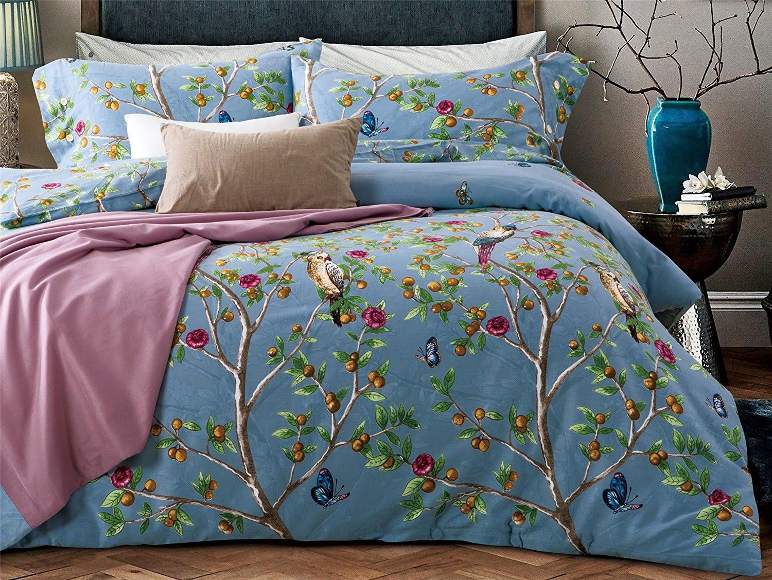 Paradise Fruit Garden With Birds Duvet Cover Set Eikei