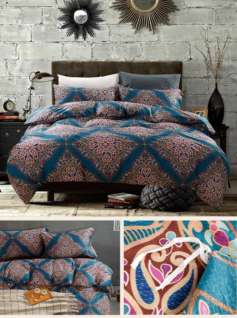 Damask Medallion Luxury Duvet Quilt Cover Boho Paisley