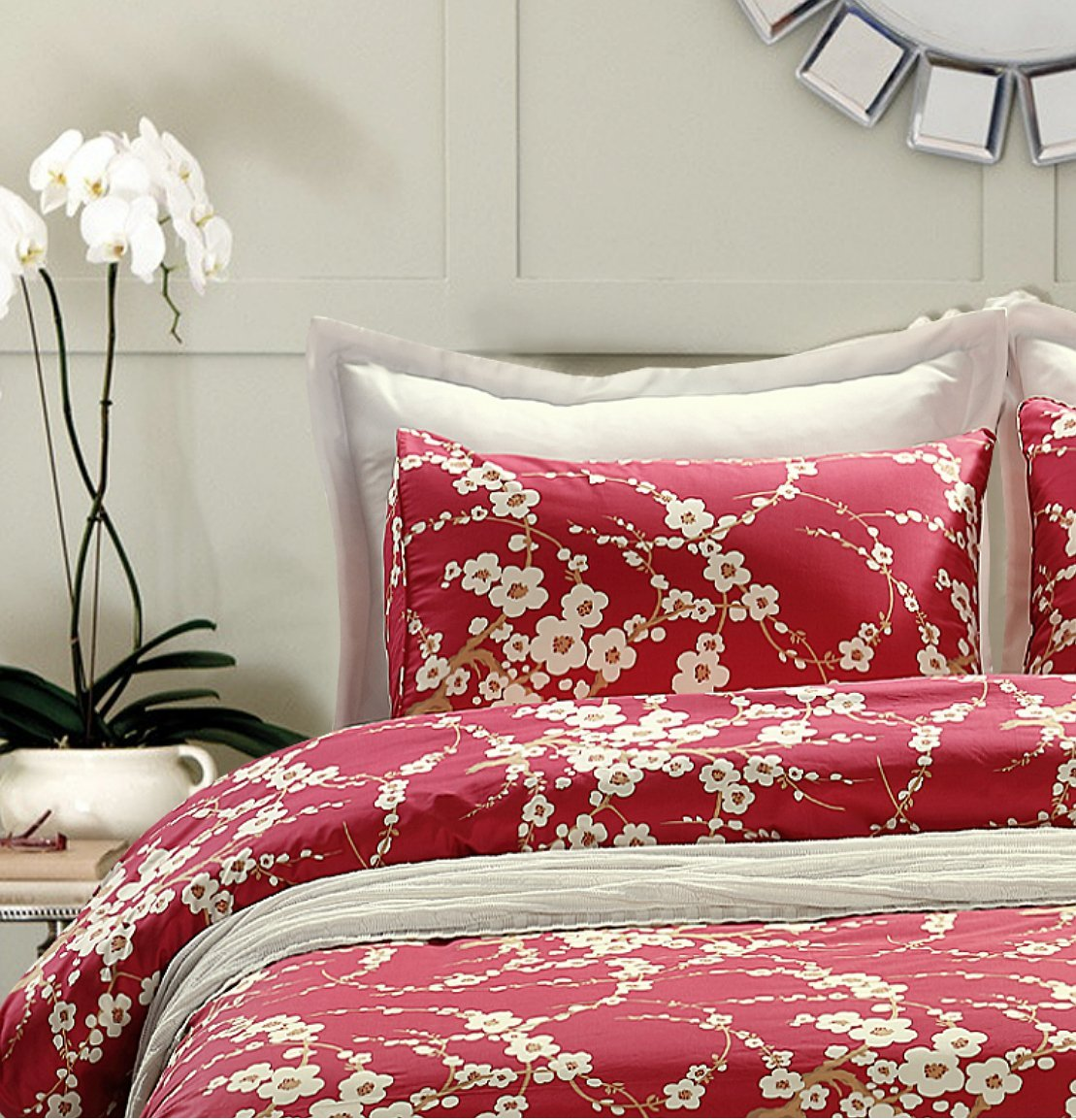 Japanese Oriental Style Cherry Red Blossom Floral branches Print Duvet Quilt Cover 300tc Cotton ...