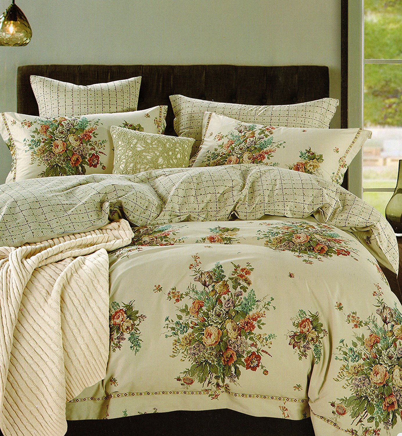 Cottage Country Roses Peonies Bouquet Duvet Cover Set