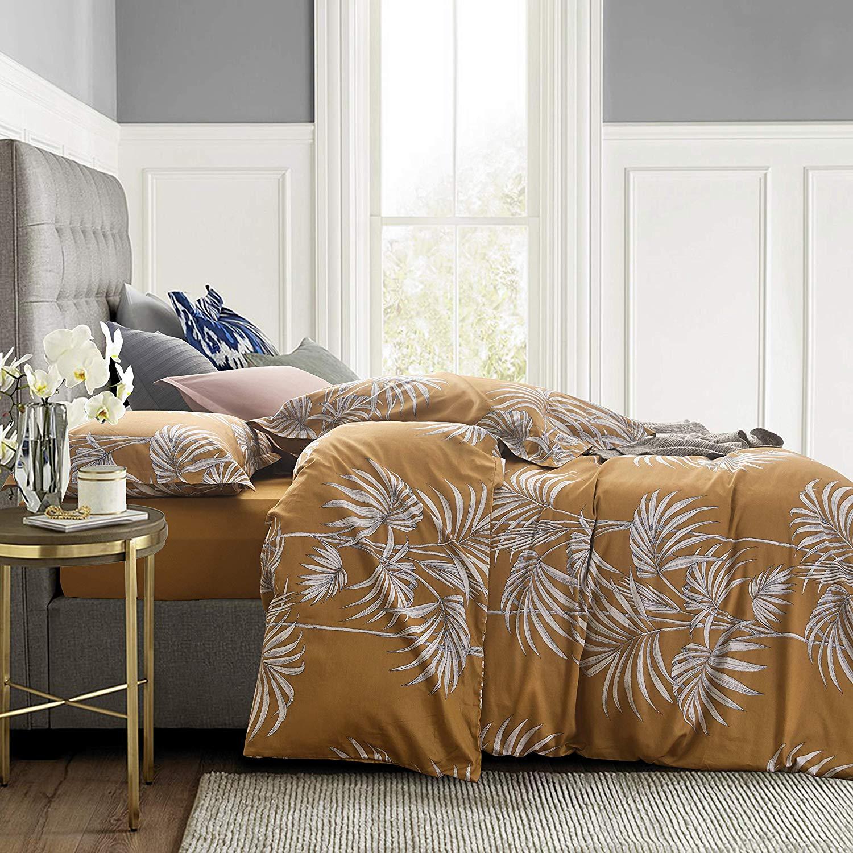 Mid Century Modern Tropical Boho Style Print Duvet Cover Set Palm Leaves Mustard Yellow Eikei