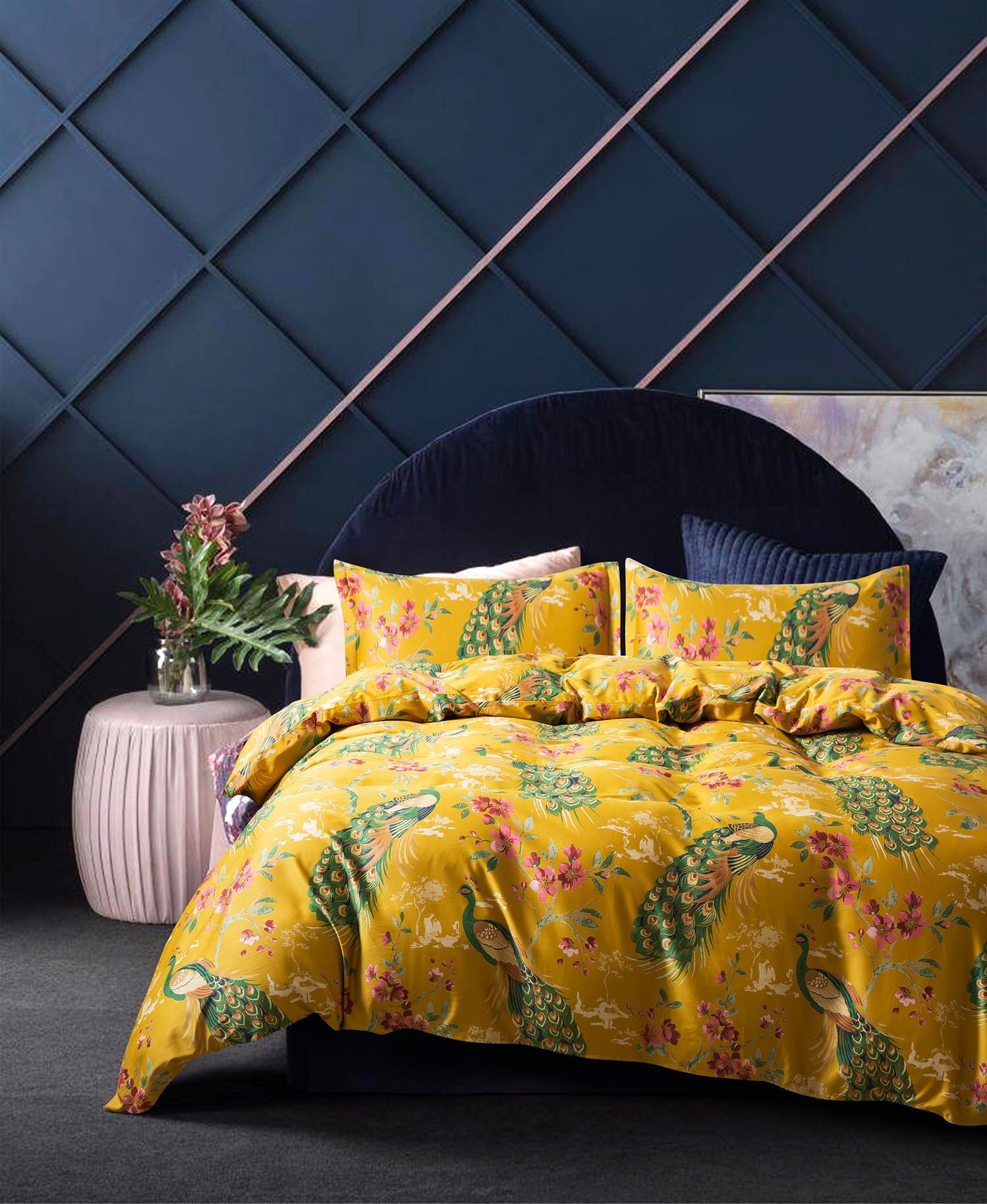 Chinoiserie Yellow Citrine Peacock Sakura Blossom Duvet Cover And Pillowcases Set Eikei
