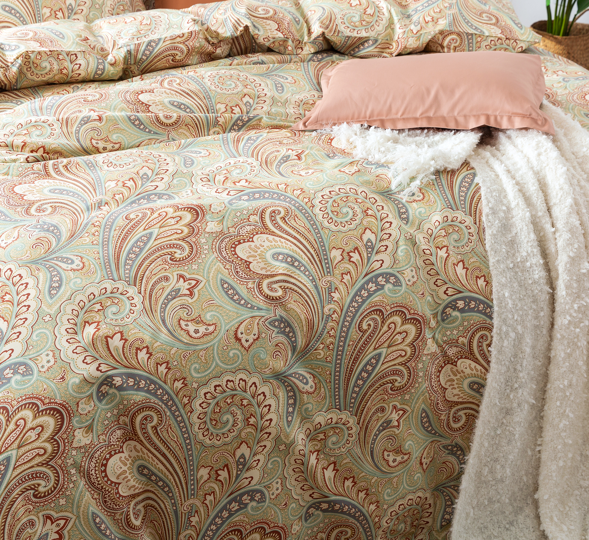 Boho Paisley Print Luxury Duvet Quilt Cover And Shams 3pc Bedding Set Bohemian Damask Medallion Rust Eikei
