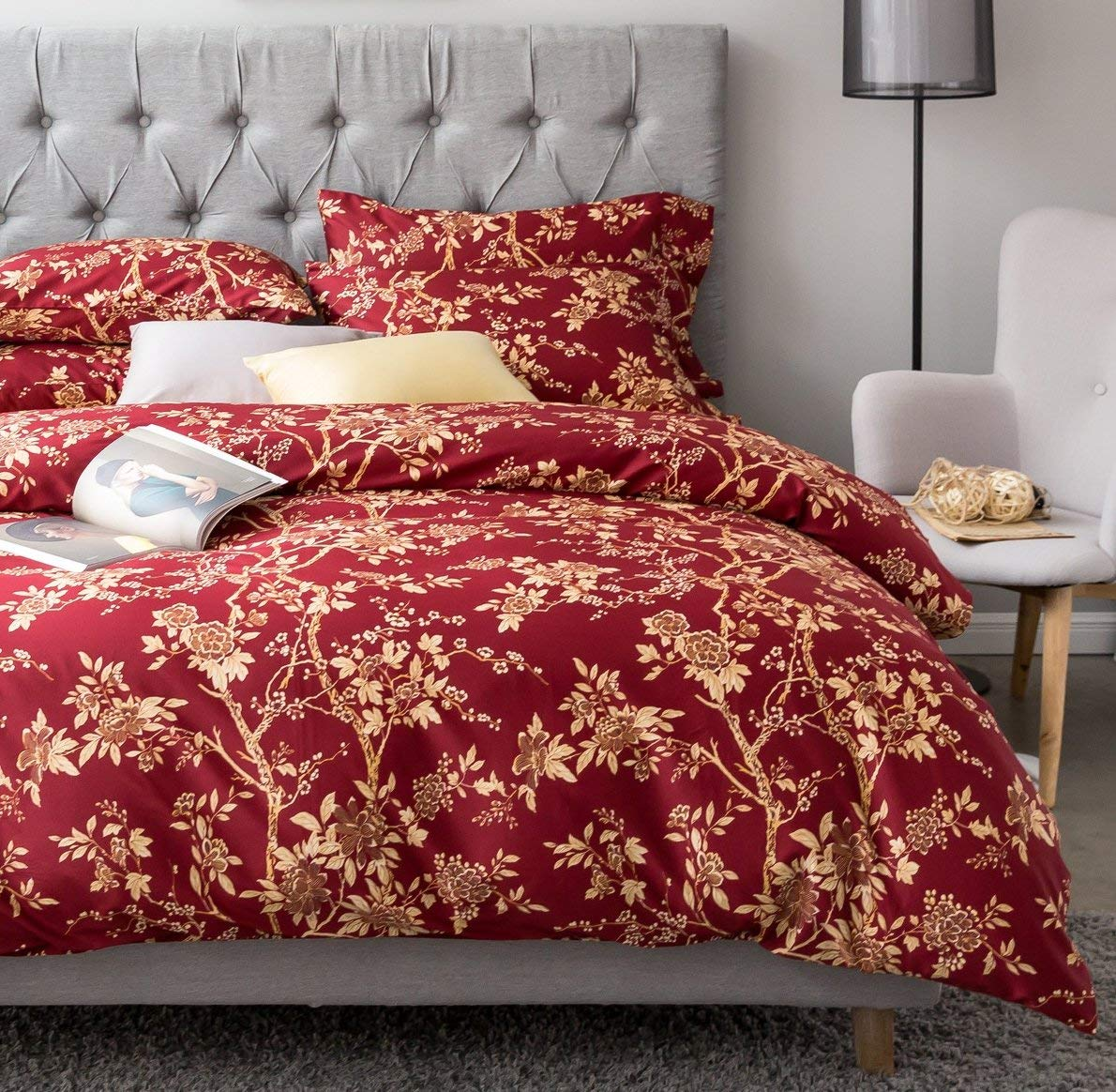Eastern Floral Chinoiserie Blossom Print Duvet Cover Garnet Tan Gold White Asian Style Botanical Tree Branches Ornamental Drawing 400tc Egyptian Cotton 3pc Bedding Set Eikei