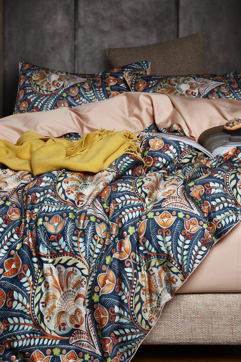 European Bohemian Medallion Pattern Bedding 400tc Cotton 3pc Duvet Cover Set Boho Damask Copper Orange Blue Eikei